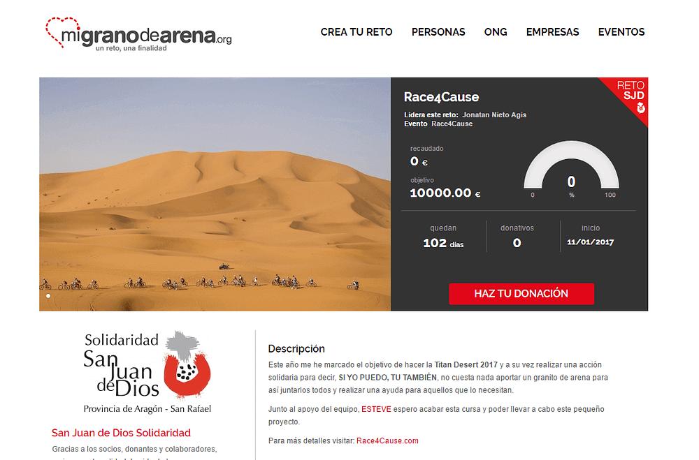 proyecto de crowdfunding de donativos en migranodearena