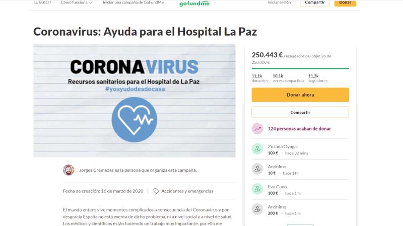 proyecto crowdfunding coronavirus en gofundme